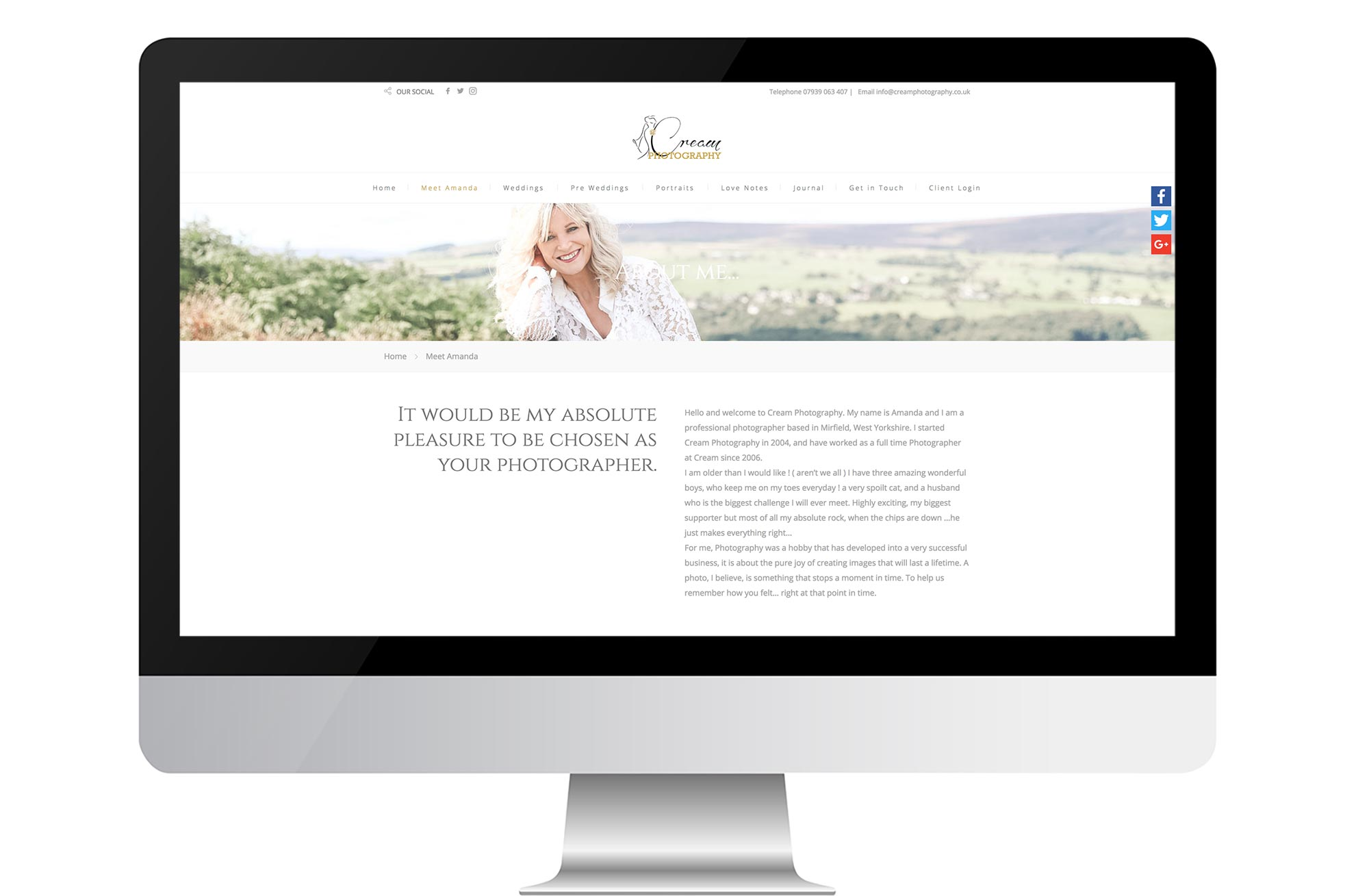 Graphic & Website Design & Marketing for Cream Photography