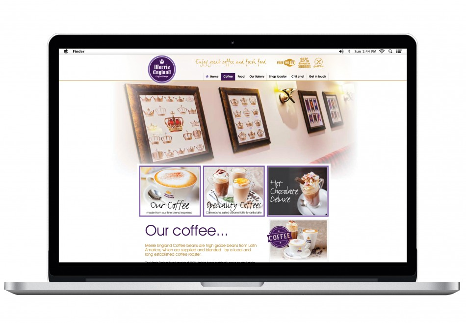 Graphic & Website Design & Marketing for Merrie England Coffee Shops